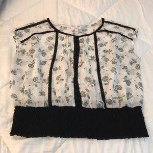 Sheer short sleeve blouse